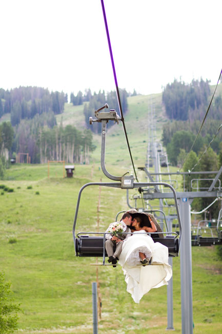 bride and groom on a ski lift--IN Photography--Beaver Creek Wedding
