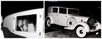 colorado bride and groom kiss in a vintage car