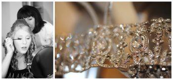wedding tiara and colorado bride doing her makeup