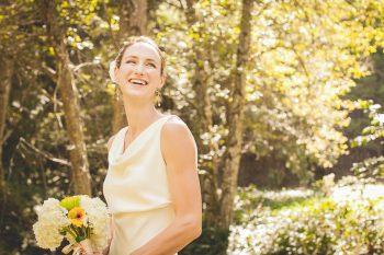 smiling woodland bride