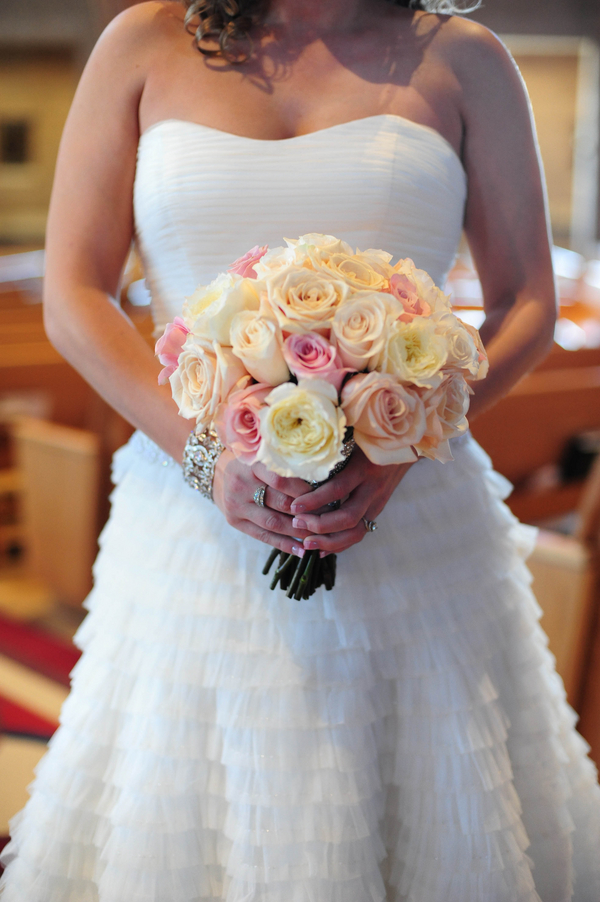 colorado bride holding pink and white wedding bouquet