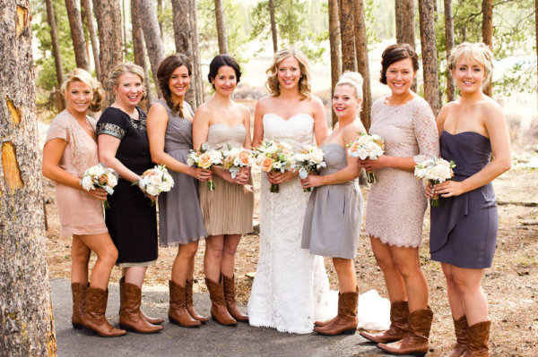 mix and match bridesmaids dresses with cowboy boots