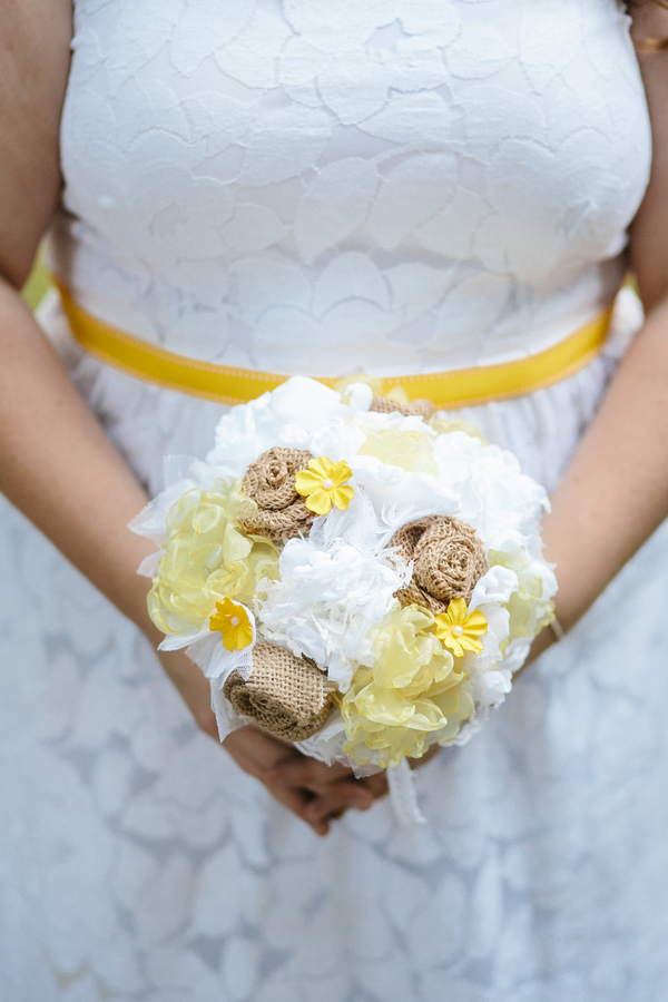 white, yellow, and tan paper an burlap DIY bouquet