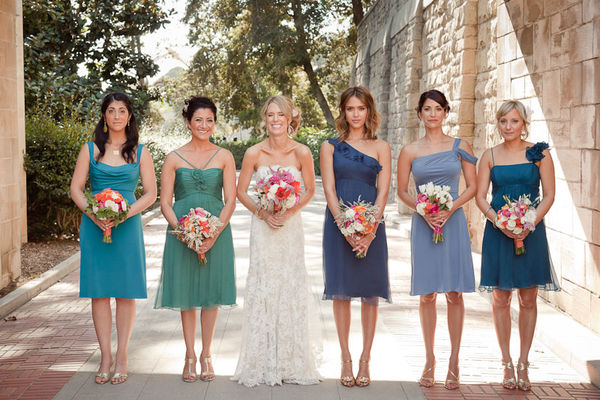 green and blue mix and match bridesmaid dresses