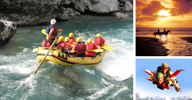 rafting sky diving horseback riding honeymoon