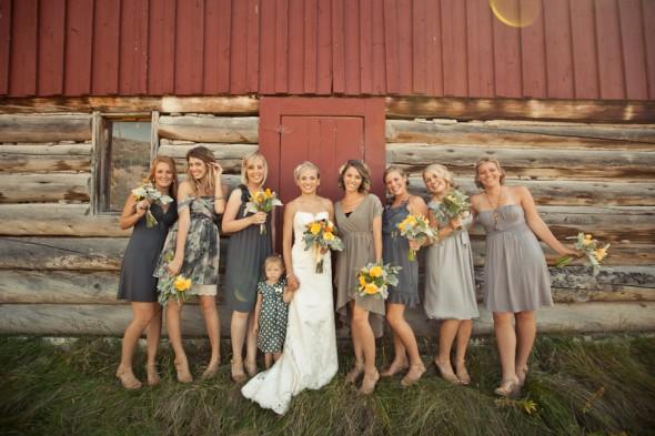 gray mix and match bridesmaids dresses