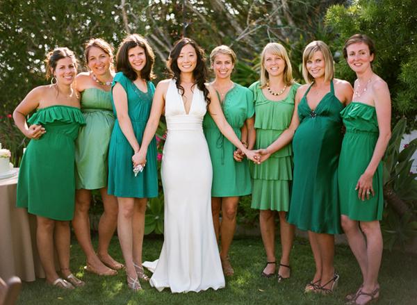 green mix and match bridesmaid dresses