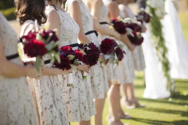 lace bridesmaids dresses with black ribbon belt