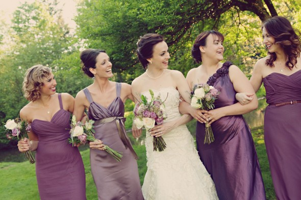 purple mix and match bridesmaids dresses