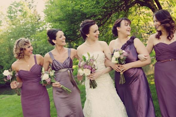 purple mix and match bridesmaids dresses