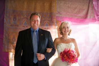 Rogue Bride and Dad in front of real Sari
