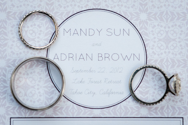 Tahoe wedding rings and invitation
