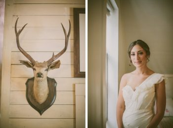 vintage bride and deer head