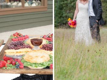 fruit and cheese platter and bride and groom in a meadow