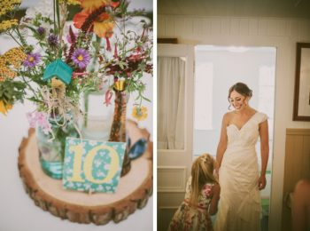 wild flower centerpieces and bride