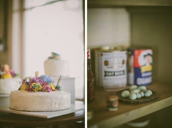 rustic wedding cake and robins eggs
