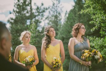 vintage yellow bridesmaids dress
