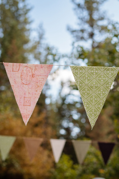 DIY wedding flags, also called bunting