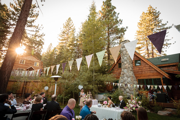 wedding flags stretch across the reception area in Tahoe City