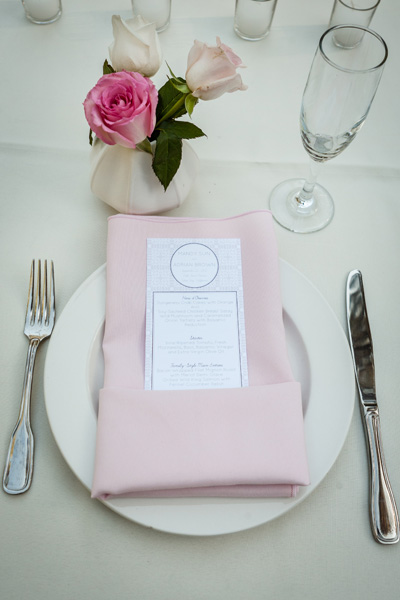 pink napkin and table setting