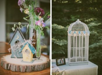 birdhouse center pieces and bird cage card holder