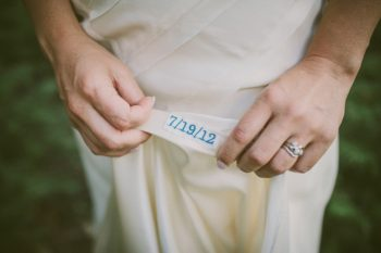 blue embroidered wedding date