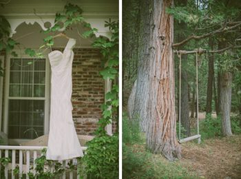 wedding dress and tree swing