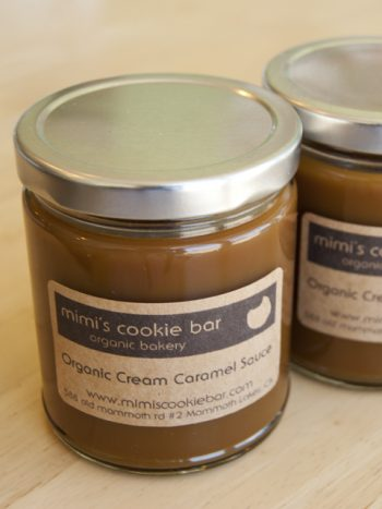 Homemade organic caramel sauce from Mimis Cookie Bar in Mammoth Lakes
