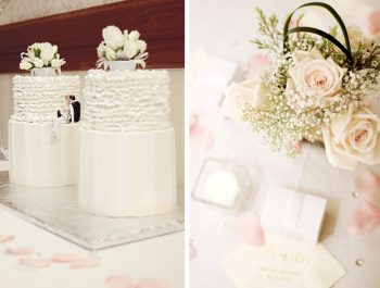 Alaska wedding rose and babys breath centerpieces