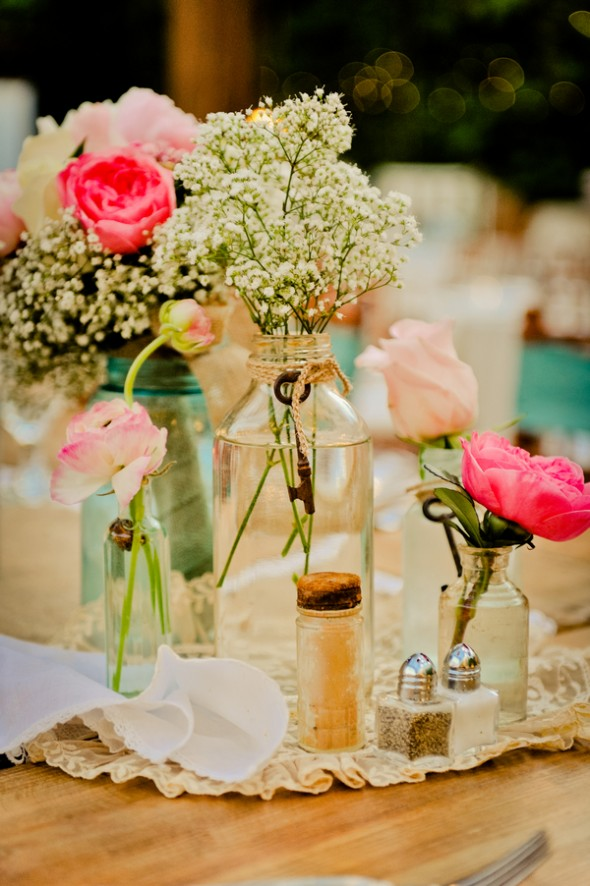 vintage centerpieces with mason jars and old keys