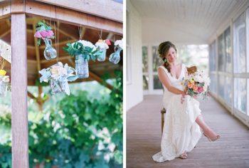 elegant garden bride and DIY hanging mason jar vases with wildflowers