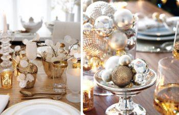 gold metallic tablescape decor