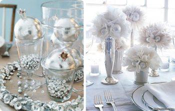 silver metallic tablescape decor