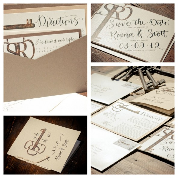 vintage key invitations
