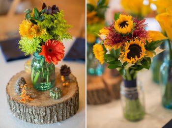 use seasonal sunflowers in vintage mason jars