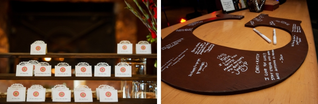 laser cyt escort cards and lettered guest book