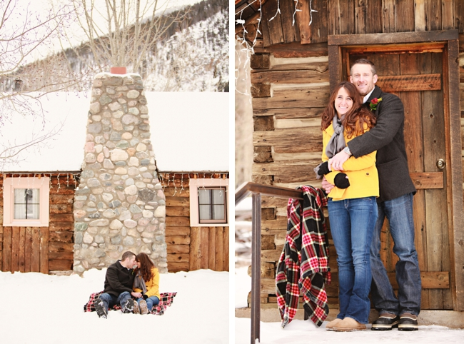 Colorado bride and groom in front of a winter lodge