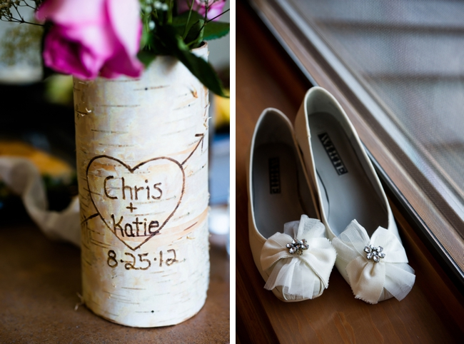 Carved birch vase and ivory wedding shoes  in Colorado Springs, CO
