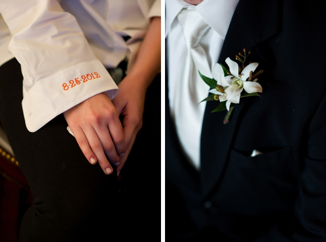 Wedding date sewn into grooms shirt cuff