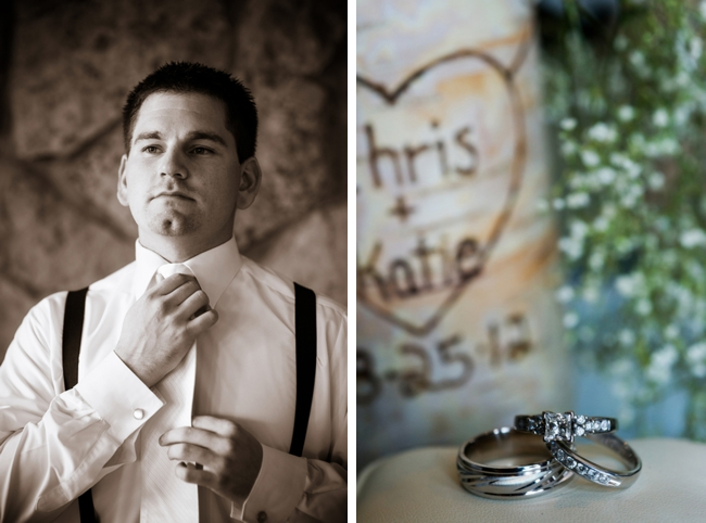 Groom getting ready and wedding rings