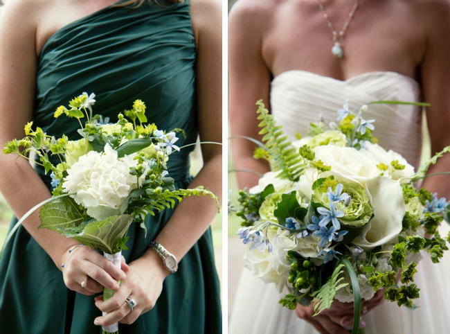 green bridesmaids dresses with white bouquets