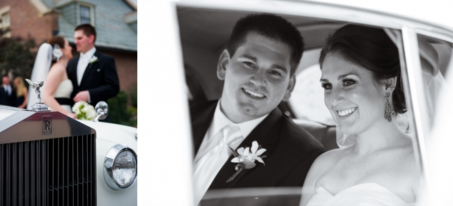 bride and groom in a rolls royce