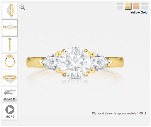 unique diamond engagement ring set in yellow gold