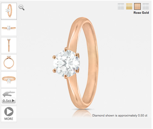 round cut diamond engagement ring in rose gold