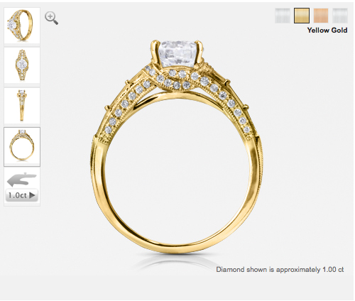 ornate diamond engagement ring with yellow gold