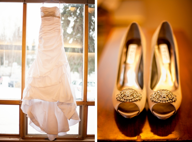 elegant wedding gown with gold shoes