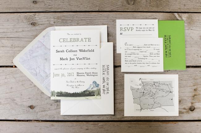 Handmade wedding invitations with mountain skyline
