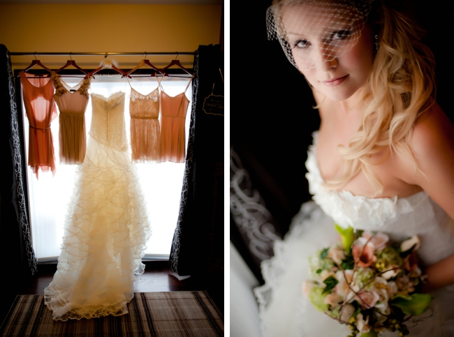 organza wedding gown and peach and pink bridesmaids dresses