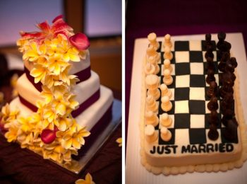 plumeria wedding cake and chess grooms cake