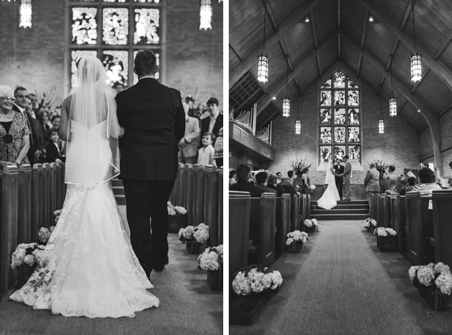 knoxville bride walking down the aisle